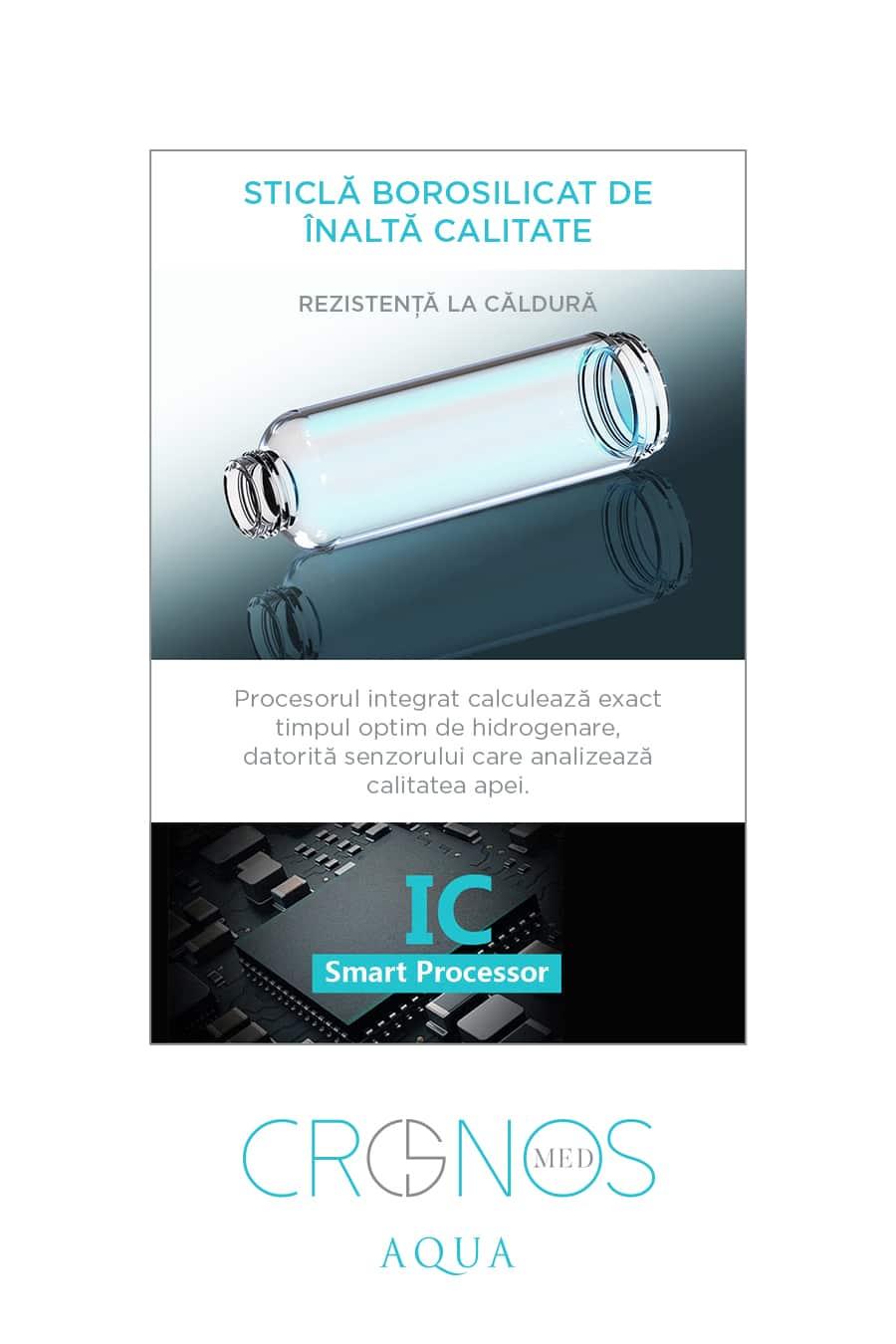 Cronos Aqua pret apa hidrogenata sticla borosilicat